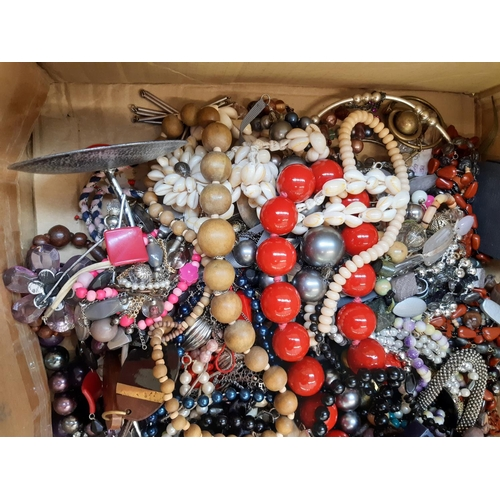 441 - THREE BOXES AND A WICKER BASKET CONTAINING A LARGE QUANTITY OF VARIOUS COSTUME JEWELLERY TO INCLUDE ...