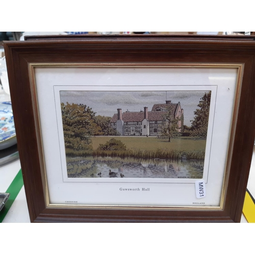 462 - FOUR ITEMS TO INCLUDE A VINTAGE MINIATURE RUSH SEATED FARMHOUSE STOOL AND THREE FRAMED MACCLESFIELD ...