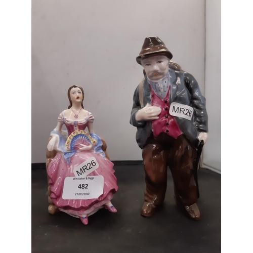 482 - TWO COALPORT FIGURINES TO INCLUDE BARBARA AND AN ELDERLY FISHERMAN (BOTH A/F)...