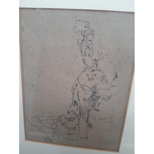 510A - A VICTORIAN GILT FRAMED PENCIL SKETCH OF A LADY IN PERIOD DRESS SIGNED R.LECOMPTE DATED 1885...