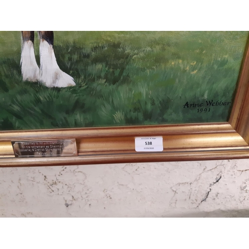 538 - A GILT FRAMED PRESENTATION OIL ON BOARD OF A SHOW SHIRE HORSE TITLED HEYAS EDWINA AND  SIGNED ANNE W...