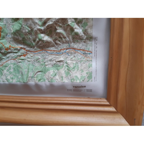 554 - A VINTAGE BEECH FRAMED 3D GEOGRAPHICAL MAP...