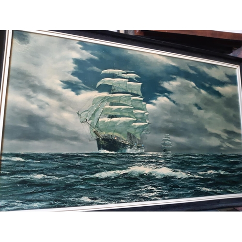 556 - EIGHT FRAMED PICTURES AND PRINTS TO INCLUDE GALLANT SHIP AT SEA, FARMING PRINTS ETC....