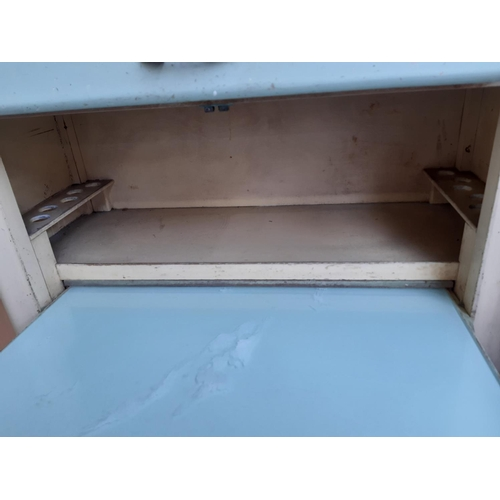 570 - A VINTAGE LEBUS 1960'S BLUE AND CREAM PAINTED KITCHENETTE WITH TWO LOWER DOORS, ONE DRAWER AND TWO U...