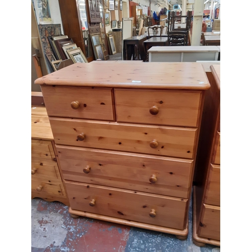 614 - A MODERN PINE CHEST OF TWO SHORT OVER THREE LONG DRAWERS...
