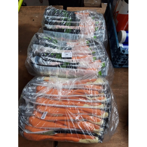 105 - THREE NEW PACKS OF SHOWA 310 SIZE 10 XL AND SIZE 9 L WORK GLOVES...