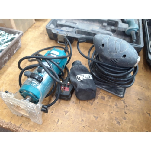 119 - TWO POWER TOOLS TO INCLUDE A GREEN MAKITA 3708F ELECTRIC ROUTER AND A BOXED DRAPER REDLINE ELECTRIC ...