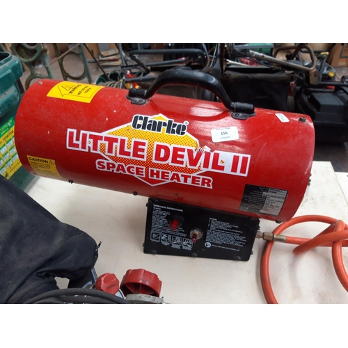 156 - A BLACK AND RED CLARKE LITTLE DEVIL 2 GAS SPACE HEATER...
