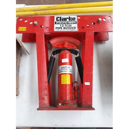 161 - A RED CLARKE STRONG ARM 12 TON PIPE BENDER...