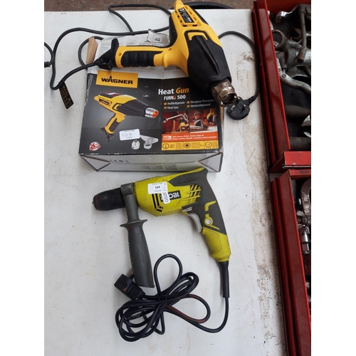 164 - TWO ITEMS TO INCLUDE A BOXED WAGNER HEAT GUN TOGETHER WITH A GREEN AND GREY RYOBI RPD500 ELECTRIC DR...