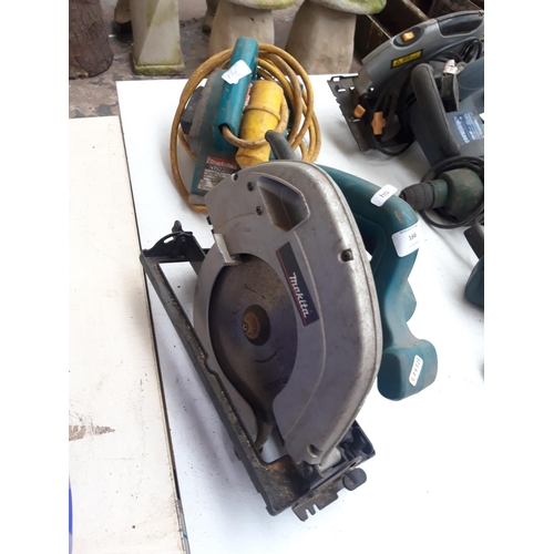 166 - TWO GREEN MAKITA POWER TOOLS TO INCLUDE AN N923BD 110V PLANER AND A 5704R HANDHELD CIRCULAR SAW...