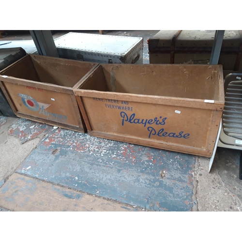 175 - TWO VINTAGE PLAYERS CIGARETTE SHIPPING CRATES...