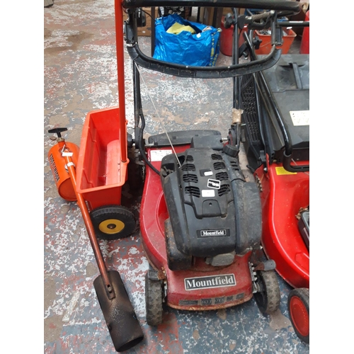 183 - A BLACK AND RED MOUNTFIELD 463PD-ES PETROL LAWN MOWER...