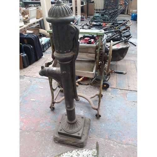 196 - A CAST IRON VICTORIAN STYLE MOCK WATER PUMP WATER FEATURE...