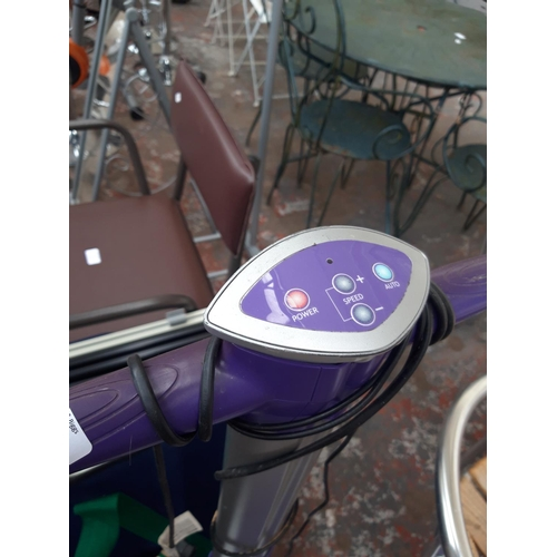 20 - TWO ELECTRIC VIBRATING EXERCISE MACHINES - ONE BLACK AND GREY CONFIDENCE AND ONE PURPLE AND GREY JDW...