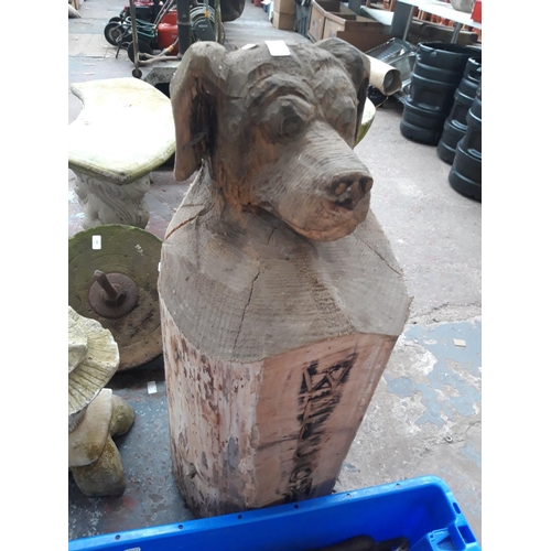 203 - A CARVED WOODEN DOG WELCOME POST...