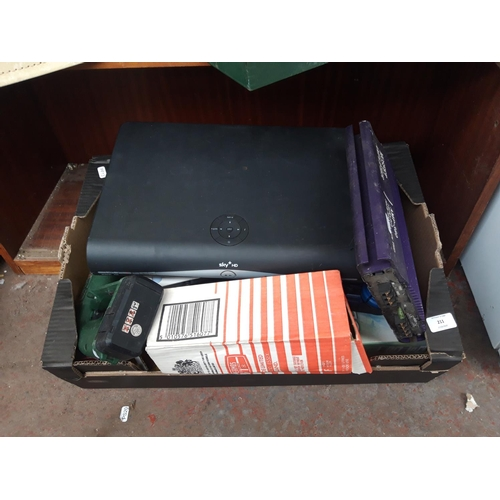 211 - A BOX CONTAINING MOSFET 2 CHANNEL CAR AMPLIFIER, SKY+ HD BOX, BOSCH PDM17.2 CORDLESS DRILL ETC....