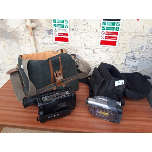 238 - TWO CASED SONY VIDEO CAMERAS - ONE DCRDVD205 AND ONE CCDTR510E...