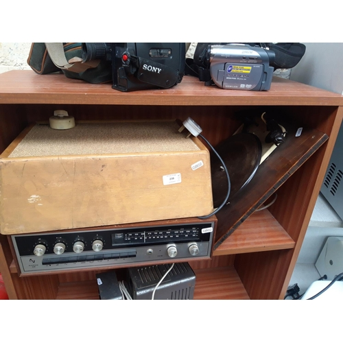 239 - THREE ITEMS TO INCLUDE ARMSTRONG 526 SEPERATES TUNER, A GARRARD T4 BAKELITE RECORD TURNTABLE AND A T...