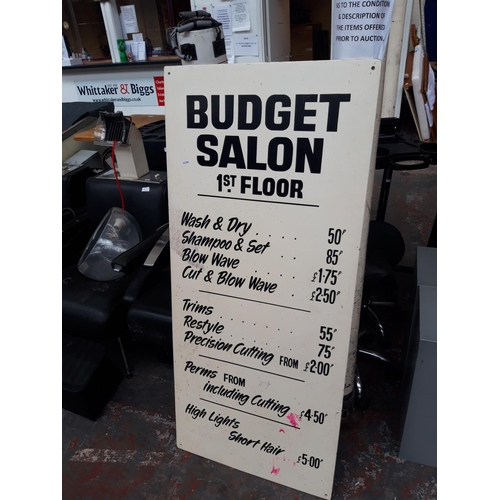 25 - A LARGE SELECTION OF PROFESSIONAL HAIR SALON EQUIPMENT TO INCLUDE VINTAGE HAIRDRYER CHAIRS, STOOLS, ...