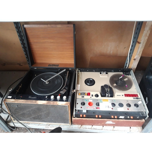 281 - TWO ITEMS TO INCLUDE A VINTAGE HACKER GRENADIER RECORD PLAYER WITH GARRARD TURNTABLE TOGETHER WITH A...