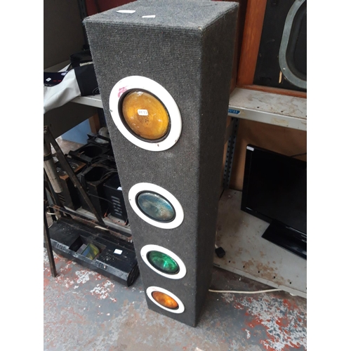 286 - A LARGE SELECTION OF VINTAGE DISCO EQUIPMENT TO INCLUDE CHROME AND BLACK METAL SPEAKER STANDS, COLOU...