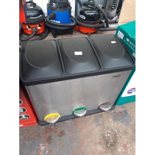 294 - A STAINLESS STEEL AND BLACK PLASTIC VONHOUSE RECYCLING BIN...