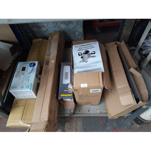 44 - SIX BOXED ITEMS TO INCLUDE A WPRO WATER VAPOUR CONDENSER, A CHALLENGE MINI TOWER FAN, MINI EXERCISE ...