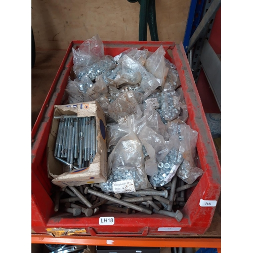 45 - A BOX CONTAINING A LARGE QUANTITY OF NEW NUTS, BOLTS, RAWL BOLTS ETC....