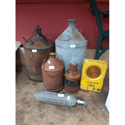 48 - SIX ITEMS TO INCLUDE VINTAGE BATTERY OPERATED ROAD WORKERS LAMP, GALVANISED CAN ETC....