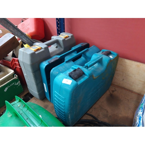 50 - THREE TOOLBOXES - TWO BLUE MAKITA AND ONE GREY RYOBI...