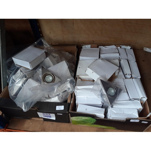 54 - TWO BOXES CONTAINING NEW STAINLESS STEEL TRIANGULAR UNDER COUNTER / CUPBOARD LIGHTS...