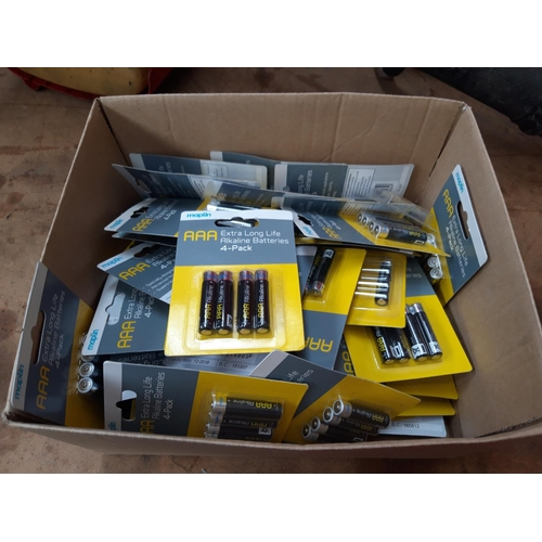 58 - A BOX CONTAINING A LARGE QUANTITY OF NEW MAPLIN AAA BATTERIES...