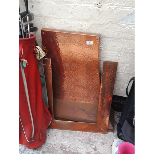 86 - A VINTAGE COPPER FIRE CANOPY AND INSERT...