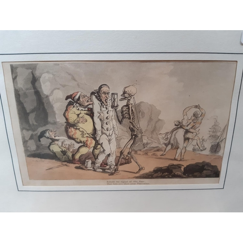 Six Various Framed Prints To Include Two Art Deco Style Prints Pantomime Print Titled Behind The S