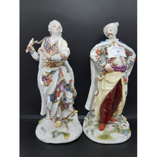 A believed to be pair of mid 18th century Meissen figurines to include one of a male Turk and one of a female Turk - both measuring approx. 23cm high. The male figurine weighs 975 grams and the female figurine weighs 826 grams (see condition report)