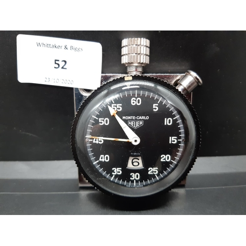52 - A 1960s Heuer 'Monte-Carlo' 12 hour dashboard stopwatch (one half of the Rally-Master pair)...