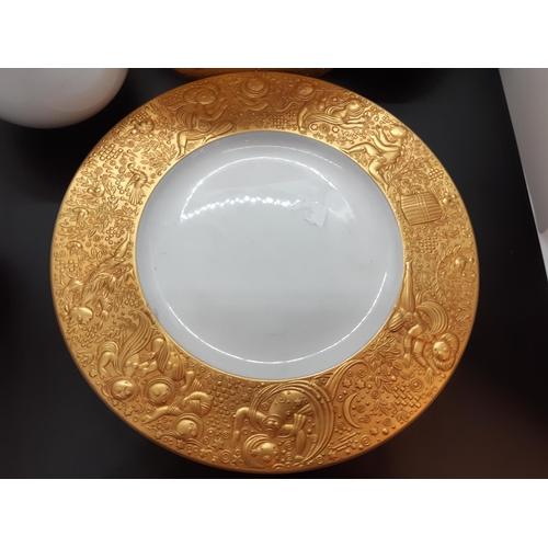 210 - An excellent quality 41 piece Rosenthal 'Magic Flute Sarastro' gold rim tea set designed by Bjorn Wi...