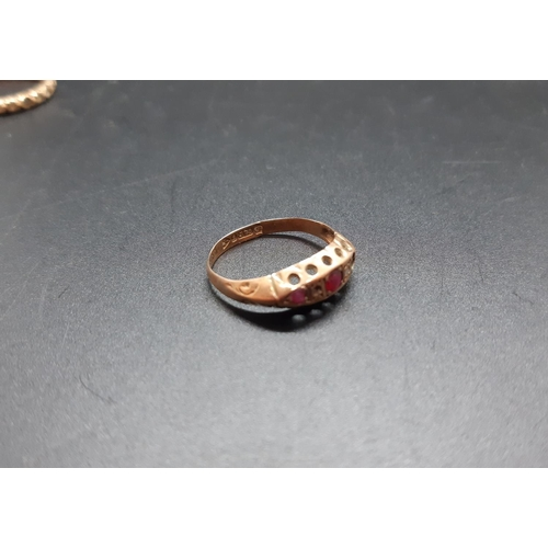 19 - Two 9ct gold rings - approx. combined weight 2.54 grams (one A/F) and one marked silver ring...