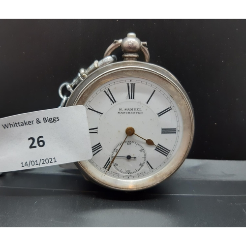26 - A hallmarked 935 grade silver pocket watch case containing a H.Samuel of Manchester pocket watch mov...