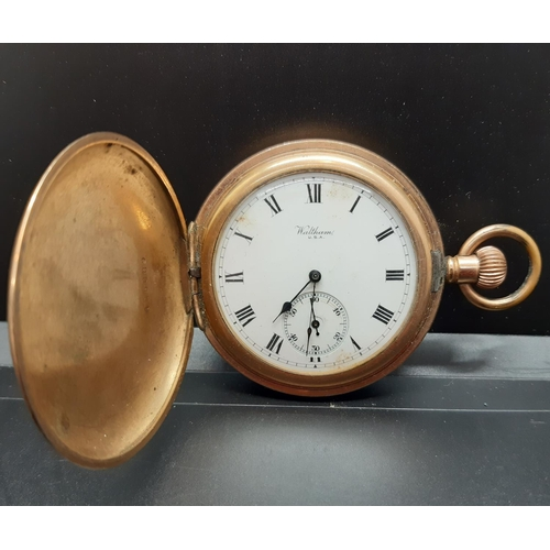 27 - An early 20th century Waltham of U.S.A gold plated full hunter pocket watch with sub second dial at ...