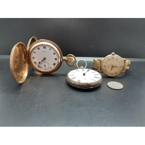 28 - Three items to include a men's Laco 17 Jewels wristwatch, 'Moulinie Geneve' pocket watch with engrav...