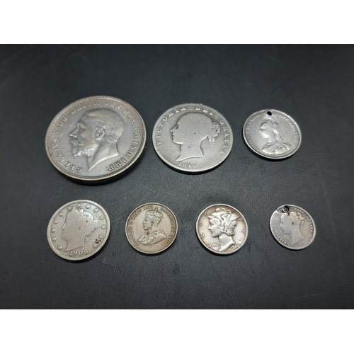 30 - Seven various coins to include one 50% silver 1935 George V crown, one 92.5% silver 1846 Queen Victo...