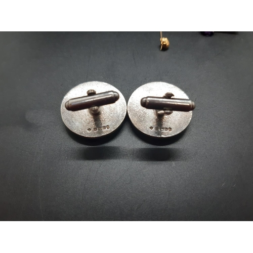 31 - Six items, a hallmarked 9ct gold gents cufflink - approx. 3.1 grams, pair of hallmarked English silv...