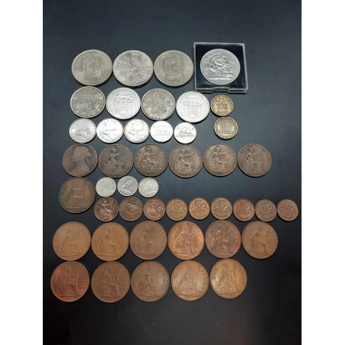 32 - A collection of mostly British coins to include 1953 five shilling, 1950 half crown, 1948 half crown...