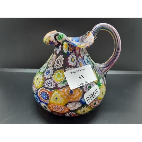 51 - A Murano style Millefiori glass jug - approx. 11.5cm high...
