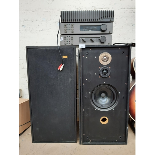 Five items of high quality hi-fi, one Quad 306 power amplifier, one Quad FM4 tuner, one Quad 34 control unit and a matched pair of Spendor BC1 monitor speakers, serial numbers 20089 and 20090 - all made in England