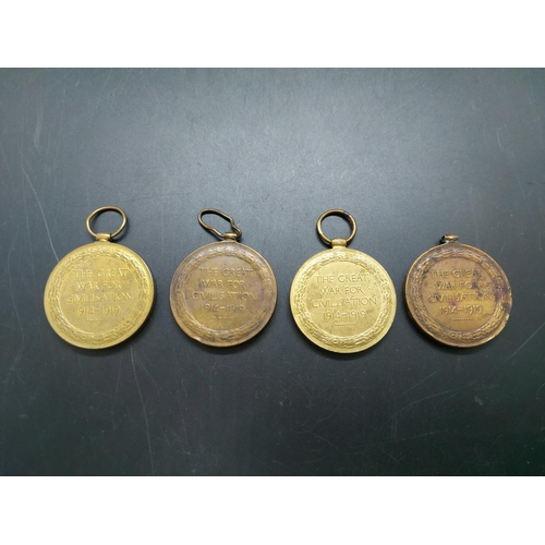 10 - Four WWI Victory medals to include 82335 BMBR. H. Cook R.A, 57500 PTE. C. Cocker V & LP, 62821 PTE. ...