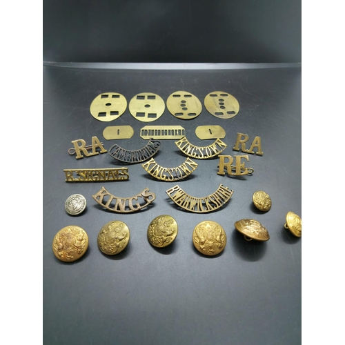 6 - A collection of title badges, military buttons and back plates