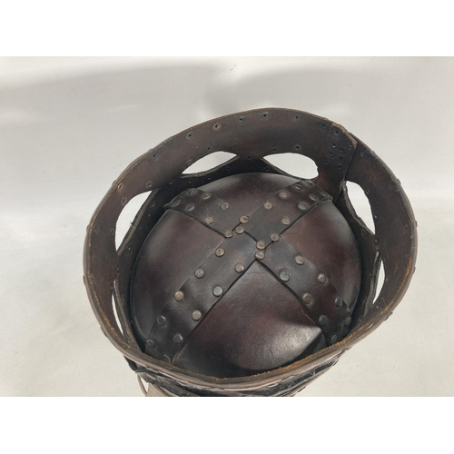 32 - A hand tooled leather theatrical ancient helmet for re-enactment - approx. 26cm high x 19cm wide x 2...
